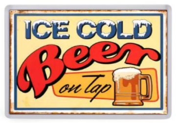 Ice Cold Beer Fridge Magnet. Retro Bar Sign. Americana. USA